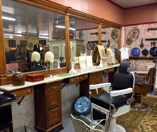 Woodstock, IL: Restored chairs and marble barber shop counter