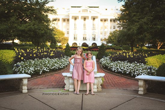 The Greenbrier: my girls, enjoying a walk in the evening on their first trip to America's resort