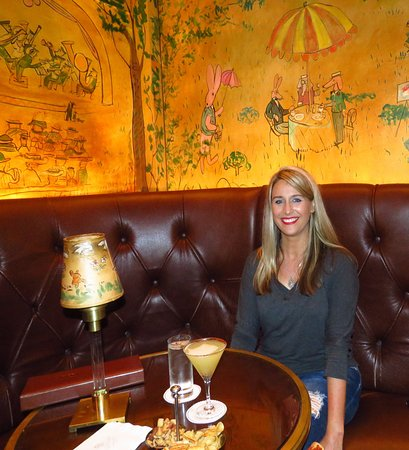"Bemelmans Bar : Enjoying my ""Spicy Pineapple Maragarita"" and taking in the artwork!"