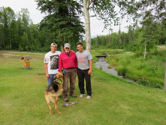 Talkeetna, AK: Dennis with our sons, and Dennis' dog Bosco....a fan favorite!