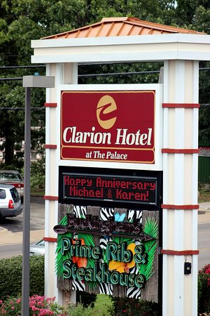 The Branson Clarion Hotel & Conference Center: Our name in lights thanks to Alice.