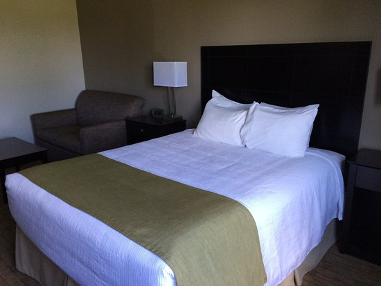 Pembroke, Kanada: Bed with loveseat and coffee table behind it