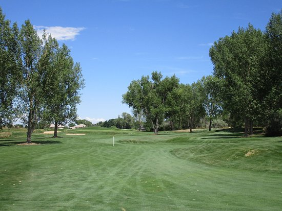 Westminster, CO: 18th hole. The only tree lined fairway. Par 5 with lotsa trouble.