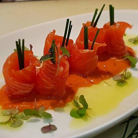 Rose Bay, Australia: Ocean Trout sashimi with spicy gazpacho
