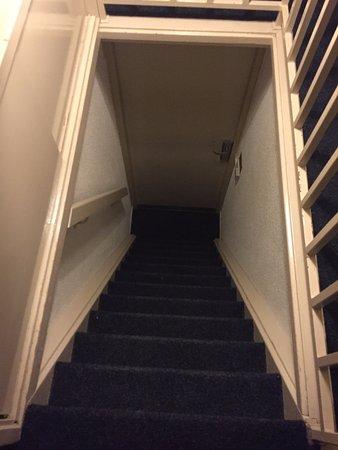 Hotel Prins Hendrik: Escaleras para subir a la habitación, abajo está la puerta de la entrada del cuarto.