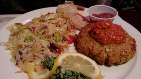 Zanesville, OH: Crab Cake with pepper sauce - shrimp and hot slaw