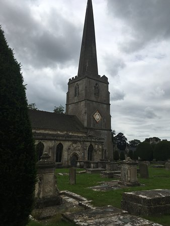 Painswick, UK: A view of the church and cemetery