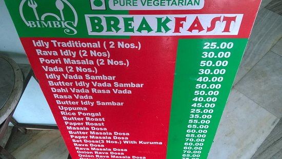 Bimbis Fast Food And Sweets A Simple Menu With Price Near