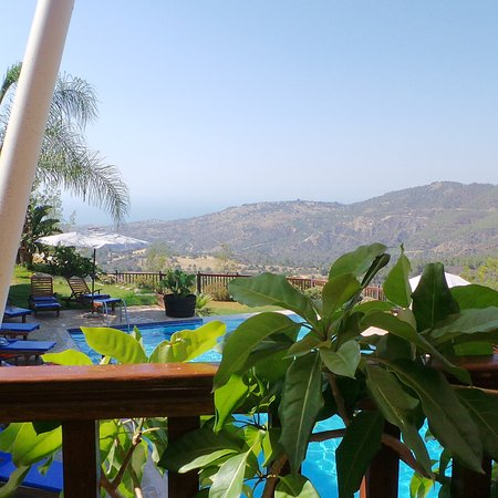 Lysos, Cyprus: The view from the restaurant terrace.