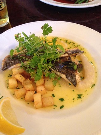 Llangybi, UK: Sea Bass with potatoes and celariac
