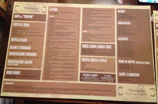 Menù Picture Of Pizzeria Ntretella Naples Tripadvisor