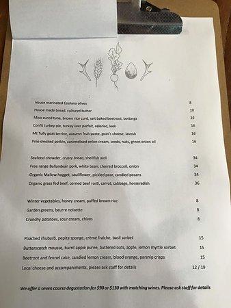 Ballandean, Australia: menu