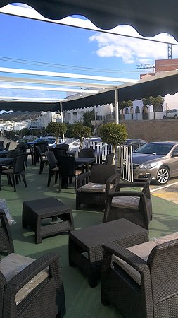 Turre, Spain: comfortable terrace with view of mojacar peublo