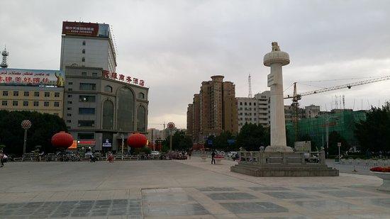 Kashi, China: Main square and hotel