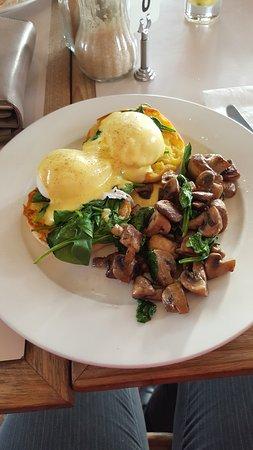 Mansfield, ออสเตรเลีย: Eggs Florentine with mushrooms added, breakfast heaven.