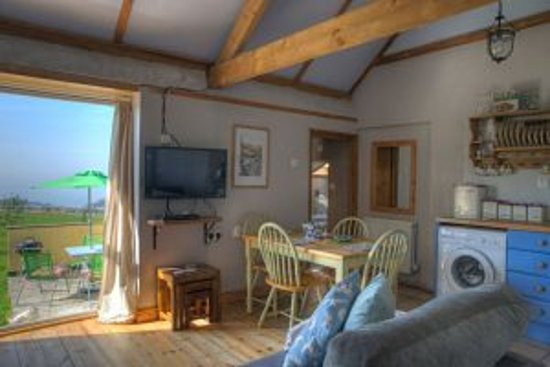 Tresaith, UK: View of the meadows from the Hayloft cottage
