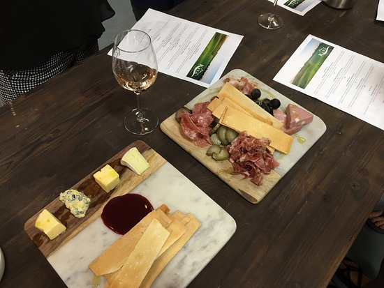 Dahlonega, جورجيا: Cheese plate and Charcuterie in the barrel room during our private tasting