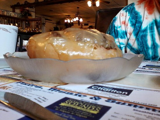 Sandy Lake, Pensilvanya: The Giant Cinnamon Roll. It's sitting in a salad plate. The picture doesn't do it justice.