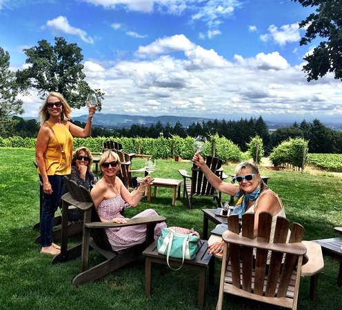 Dayton, OR: Enjoying the view, the wine and the company of friends.