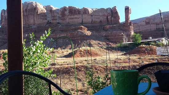 Coffe on the patio with bluffs