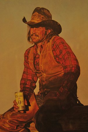 Panguitch, UT: A painting hanging in Cowboy Collectibles.