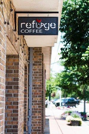 Refuge Coffee: Outside sign