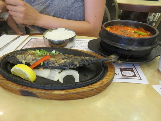 Nak Won: Grilled salted mackerel and spicy tofu soup