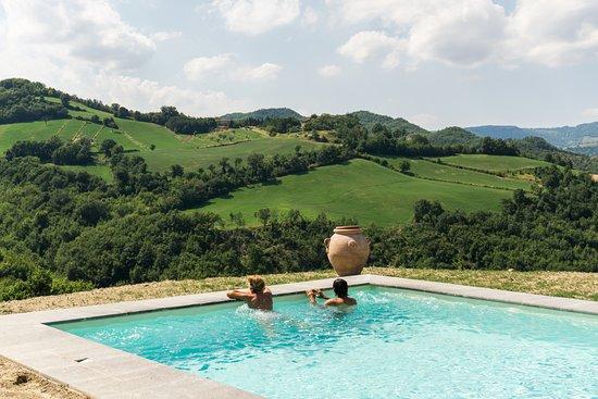 Belforte all'Isauro, Italien: Pool mit Aussicht