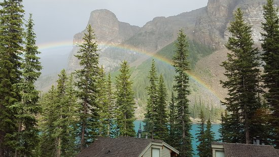 Moraine Lake Lodge: Foto vom Balkon der Lakeview Cabin