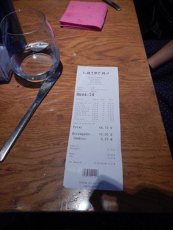 Restaurante Lateral Fuencarral: La cuenta!