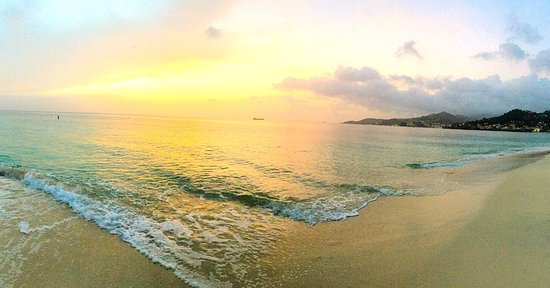 Grand Anse Beach : Sunset on beach