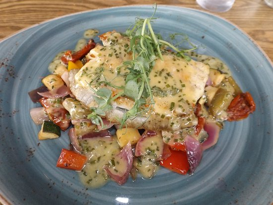 Rhosneigr, UK: Turbot supreme with Mediterranean vegetables and chive dressing