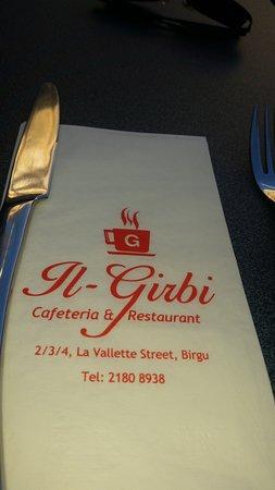 Birgu (Vittoriosa), Malta: napkin