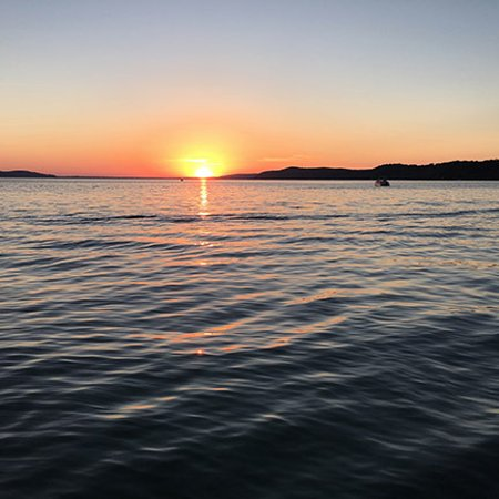 Beulah, MI: Sunset from the dock
