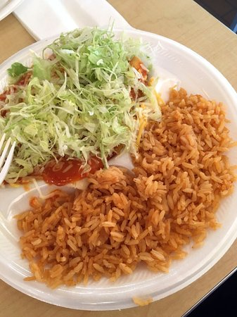 Ankeny, IA: Beef and chicken enchilada (under lettuce) and spanish rice