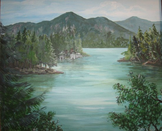 Lake Lure, Karolina Północna: View from Pt. of View, done in acrylic.
