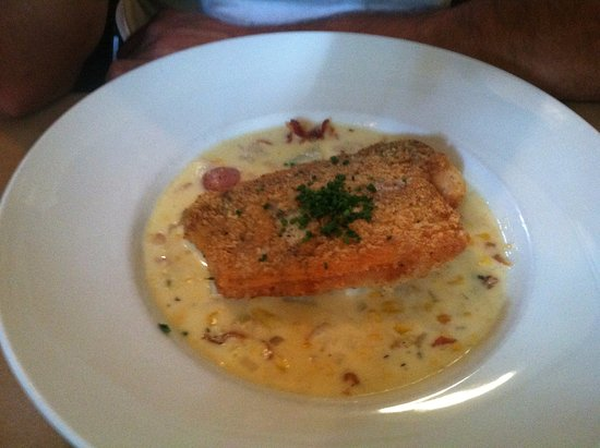 Hingham, MA: Crusty haddock over bacon corn chowder