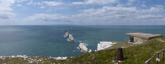 Totland, UK: Panorama overlooking the searchlight platform and the Needles