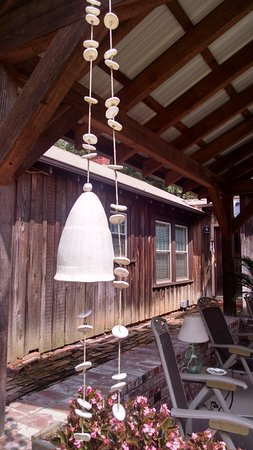 Pontotoc, MS: Mississippi made wind chimes adorn the outdoor kitchen