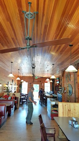 Empire, CO: dining area with ceiling fans run by pulleys and belt