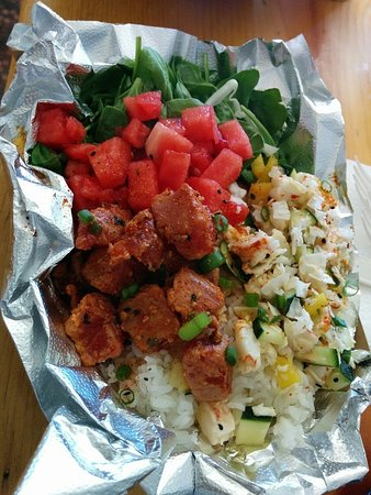 Lee Vining, CA: watermelon/spinach salad; spicy ahi tuna poke; coconut-shrimp poke