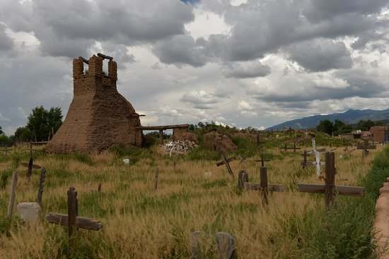 Taos Pueblo old burnt-down church and graveyard