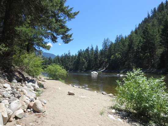 Beach on the river at Riverhaven RV Park, Hedley, BC