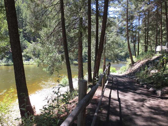 Very safe trail leading down to the river at Riverhaven RV Park, Hedley, BC
