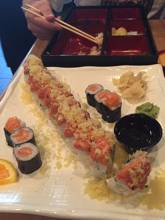 East Lansing, MI: Godzilla roll (middle), small salmon roll.