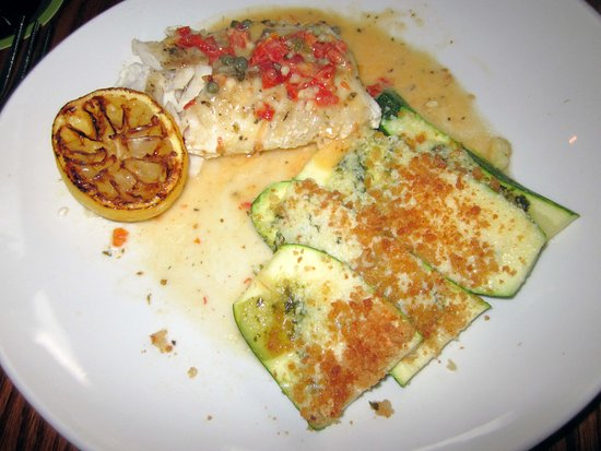 The Olive Garden: Cod Picante in a Lemon Caper Sauce w/ Crumb-Coated Zucchini