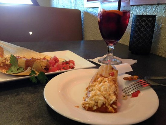 Yummy red sangria and tamales