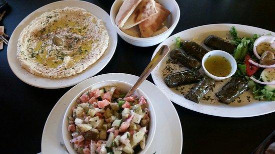 โรม, จอร์เจีย: Hummus, fresh pita, Dolmades, and Jerusalem salad.