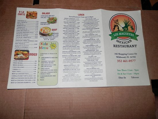 Wildwood, FL: This is the Menu to take home, the menu in the restaurant is the same but laid out different