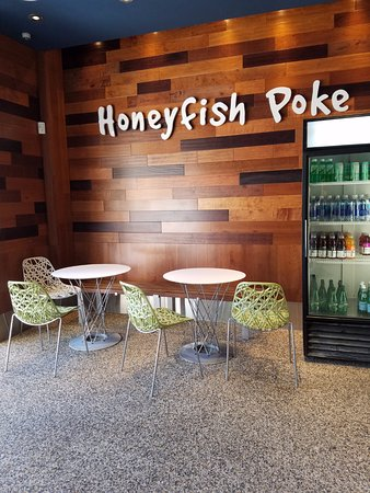 Honeyfish Poke: Some Seating Inside The Store